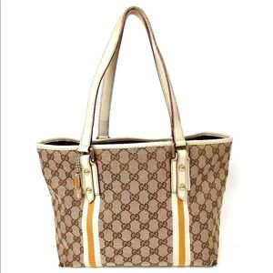Auth Gucci GG Sherry Canvas Shoulder Bag
